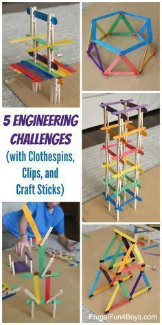 5 Engineering Challenges with Clothespins, Binder Clips, and Craft Sticks. Awesome STEM activity for kids! So many fun ideas to challenge the mind this summer!