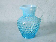 Turquoise Hobnail Glass Syrup Pitcher - Vintage Syrup Dispenser - Fenton Turquoise Glass Syrup Pitcher. $62.00, via Etsy.