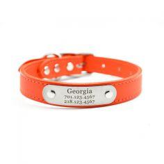 leather nameplate dog collar orange $47.00  #Orange #DogCollar #Leather #Dogs #BitchNewYork