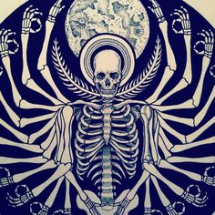 "Psychadelic Skeleton Art by Tattoo Artist Dale Sarok ""For now I am become Death, destroyer of worlds"""