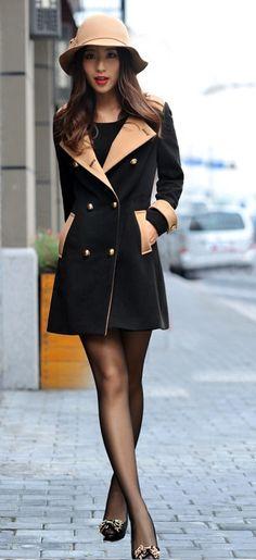 Beige and black coat