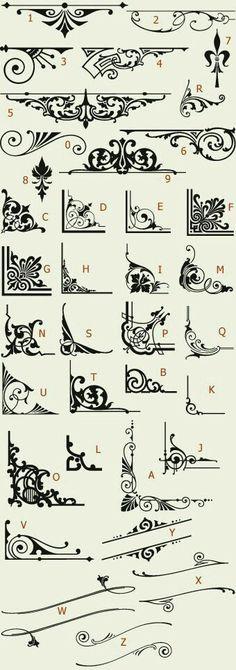 Letterhead Fonts / LHF Americana Ornaments / Golden Era Studios (For inspiration when making freehand designs. Stencils, Pyrography, Design Elements, Doodles, Clip Art, Graphic Design, Drawings, Prints, Mike Jackson