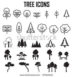 Isolated black and white color trees in lineart style, forest,park and garden flat signs collection Tree Icon, Black And White Colour, Icon Set, Royalty Free Stock Photos, Photoshop, Forest Park, Trees, Crafty, Flat