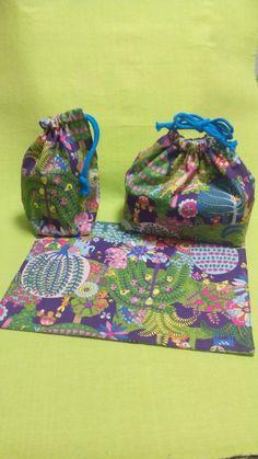 紫水色イカリと紫動植物の弁当袋、コップ袋、ランチョンマット  入園入学グッズ
