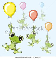 Cute cartoon Frogs with balloons on a blue background - buy this vector on Shutterstock & find other images. Cartoon Chicken, Frog Pictures, Cartoon Elephant, Frog Art, Cartoons Love, Cute Cartoon Girl, Journaling, Sketch Notes, Cute Frogs