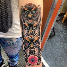 My bffs tattoo is better then yours! #tattoo #owls #hearseespeaknoevil