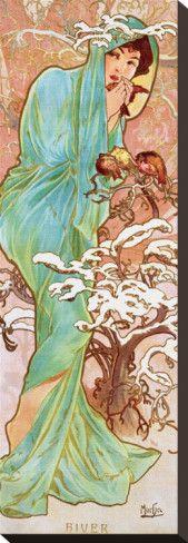 Inverno Stampa trasferimenti su tela di Alphonse Mucha su AllPosters.it