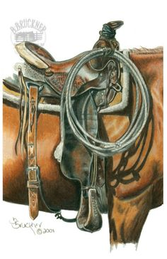 Saddle Detail Western Art Print from Colored Pencil Drawing