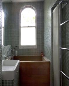 Adam Brays bathroom in Georgian Villa in West London, Iroko bath, green mosaic tiles, Remodelista