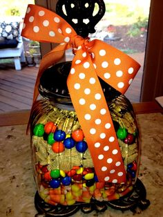 Fall mix- candy corn, pretzels, dark chocolate m's, chex cereal, pretzel m's, chocolate chip bunnies. All into a Biltmore Inspiration jar with a bow.