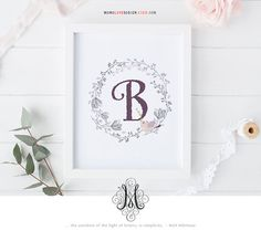 Floral Wreath with Bird Monogram Design Nusery Decor Alphabet Art Baby Girl Letter Wall Art Name Initial Art Printable Letter Monogram Art