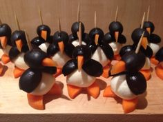 penguins with carrots, olives and mozzarella