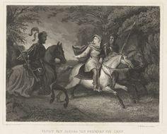 Johann Wilhelm Kaiser (I) | Vlucht van Jacoba van Beieren uit Gent, 1425, Johann Wilhelm Kaiser (I), 1842 - 1844 | Jacoba van Beieren vlucht te paard begeleid door twee twee soldaten uit Gent, 1425