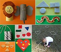 February Activity Pack - Valentine Shapes and African animals theme crafts and games for toddlers and children age 1 - 4