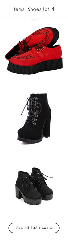 """""""Items: Shoes (pt 4)"""" by honeythismirrorisntbigenough on Polyvore featuring shoes, creepers, suede shoes, suede lace up shoes, creeper shoes, lace up shoes, suede leather shoes, boots, ankle booties and red"""