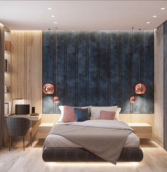 First Class Family Home With Blue, Pink And Gold Decor – House Design Bedroom Bed Design, Modern Bedroom Design, Home Decor Bedroom, Decor Interior Design, Bedroom Designs, Modern Bedrooms, Bedroom Ideas, Pink Bedrooms, Modern Master Bedroom