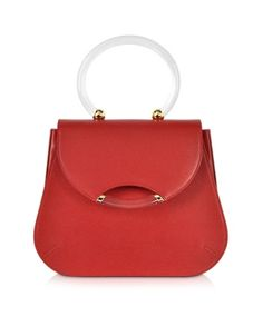 Charlotte Olympia Newman Red Leather Satchel W Transparent Handle   Messenger, Luggage and Bag