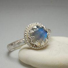 Rainbow Moonstone Engagement Ring Vintage by RhapsodysTreasures