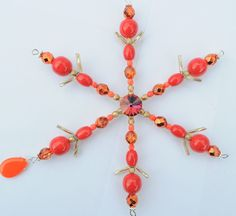 Bohemian Czech Glass Red Snowflake Handmade Beaded Swarovski Wire Suncatcher