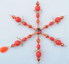 Bohemian Czech Glass Red Snowflake Handmade Beaded Swarovski Wire Suncatcher