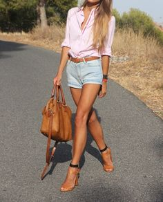high waisted denim shorts + button down
