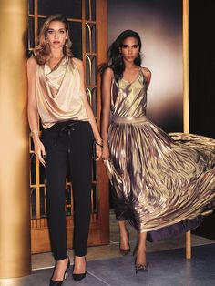 From the left: The Drape-Front Sleeveless Blouse, Faux-Leather Drawstring Soft Pant, Lame Camisole and Lame Pleated Maxi Skirt.