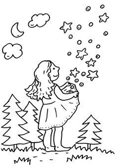 Ausmalbild Märchen: Sterntaler zum Ausmalen kostenlos ausdrucken