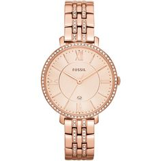 Fossil Jaqueline Rose Dial Rose Gold-plated Ladies Watch (360 RON) ❤ liked on Polyvore featuring jewelry, watches, dial watches, fossil watches, analog wrist watch, roman numeral watches and crown jewelry