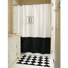 Monogram...a cute way to jazz up an inexpensive shower curtain