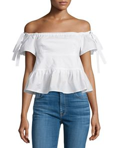 Off-the-Shoulder+Poplin+Top,+Snow+by+Rebecca+Taylor+at+Neiman+Marcus.