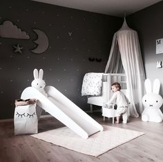 a cute kid's room by @stine.moi, Miffy lamp, Rosaline doll bed and Cam Cam baby quilt are all available at www.istome.co.uk