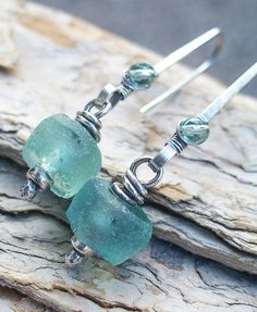 Sea Green Earrings Sterling Silver Recycled Glass by lunedesigns, $35.00