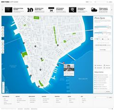 """An interactive concept of New York City Guide created for .NET Magazine """"Build-Off"""" section. The city is a living organism; it breathes, eats, uses power, wakes up in the morning and sleeps during the night. The city can exist without attractions, shops, music halls and museums, but it cannot exist without the map. The map is the city's heart"""