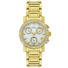 Bulova Women's Diamond Chronograph Watch ** Check out this great product. (This is an affiliate link) Bulova Watches, Gold Watch, Chronograph, Detail, Diamond, Image Link, Note, Accessories, Amazon