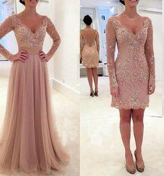 long prom dress, dusty rose prom dress, detachable prom dress, lace prom dress…
