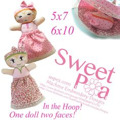 Sleepy doll in the hoop 5x7 and 6x10 machine embroidery design !