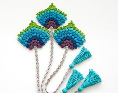 Crochet PATTERN Peacock Feather Mayil Motif by TheCurioCraftsRoom