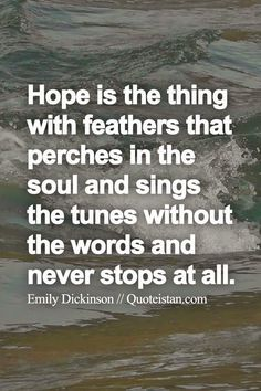 Hope is the thing with feathers that perches in the soul and sings the tunes without the words and never stops at all.