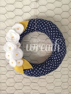 Navy Blue PolkaDot and Yellow Wreath by alittlewreath on Etsy