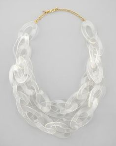 Kenneth Jay Lane Clear Lucite Link Necklace | Neiman Marcus