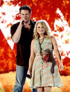 Blake Shelton and Miranda Lambert http://truckyeahcountrystars.tumblr.com/