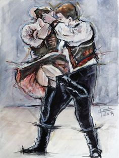 Ľubomír Korenko, akvarel Vo víre tanca, bez rámu 30x40 cm, 80 €