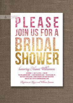 Pink  Gold Bridal Shower Invitations in pink and gold glitter ombre Modern design by digibuddhaPaperie, $20.00