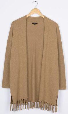 Cupshe Dainty Of Heart Tassel Camel Sweater Cardigan