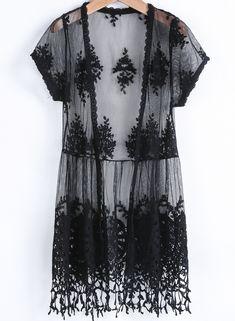 Black Short Sleeve Embroidered Tassel Blouse - Sheinside.com