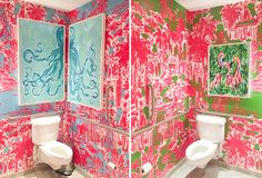 Why wouldn't the restrooms be packed with print at our newly remodeled King of Prussia Flagship Store? Lilly Pulitzer Stores, Lilly Pulitzer Prints, Lily Pulitzer, Beauty Room To Rent, King Of Prussia Mall, Bathroom Accent Wall, Rooms For Rent, Salon Design, Print Artist