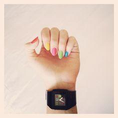 Baby-G & rainbow nails @alixcherry | Webstagram