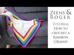 How to Crochet a Rainbow Edged Granny Square - YouTube