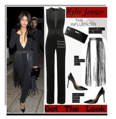 """""""Get The Look: Kylie Jenner"""" by hamaly ❤ liked on Polyvore featuring Gianvito Rossi, Hermès, YVY, Balmain, DateNight, Blackjumpsuit and waystowear"""