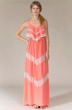 Coral Maxi Dress with Lace Detail - Such a pretty color for spring and summer!